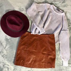 Free People Cognac Pleather Skirt